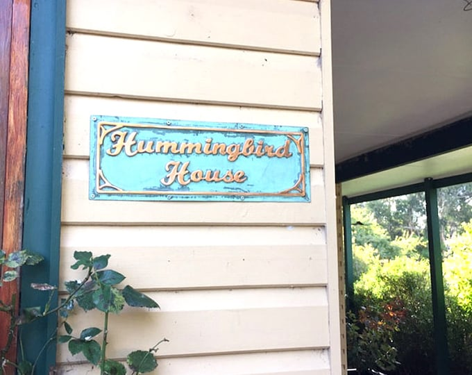 """Beach house, hut, office sign plaque  in 2"""" high monoscript letters in patinated copper with art nouveau embellishment g"""