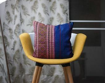 "Hmong 16"" by 16"" Cushion Cover Hmong Hill Tribe Style Ethnic Batik Thai Cross Stitch Hobo Boho"