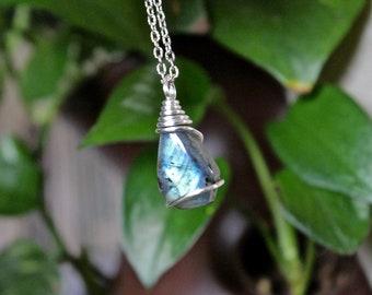 Quality Labradorite Necklace - Wire Wrapped Stone Jewelry - Gypsy Jewelry - Boho Necklace - Natural Labradorite Jewelry - Hippie Necklace