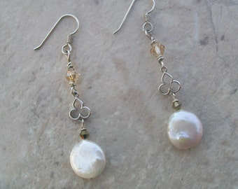 White Coin Pearl, Crystal and Sterling Silver Earrings