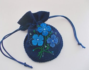 Jewelry Pouch Dark Felt Drawstring Bag with Embroidered Felt Flowers and Swirls Handsewn