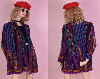 80s Colorful Multi Pattern Jacket/ One Size/ 1980s