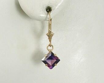 14K Gold Dangle Amethyst Square Drop Gemstone Lavalier Lever Back Earrings secure European Spring ClaspBirthstone Earrings 14KAM6X6SQLLB