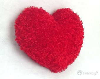 """12"""" Heart pillow : Share your love! Red Heart Silky Furry Pillow, Valentines Day Gift"""