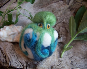 Needle Felted Green and Blue Octopus Sphere