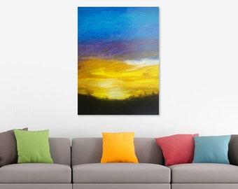 """Original 16""""x20"""" canvas oil painting , landscape , sunset large wall art , abstract art texture , contemporary art wall decor modern art"""