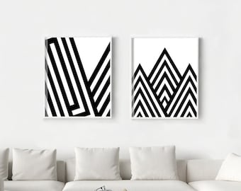 Geometric Poster Set, Set of two Prints, Black and White Wall art, Lines Stripes, Geometric art, Abstract print, Large Wall art, Monochrome