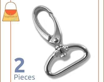 "1 Inch Swivel Snap Hooks, Nickel Finish, Handbag Purse Bag Making Hardware Supplies, 1"", 2 Pieces, SNP-AA055"