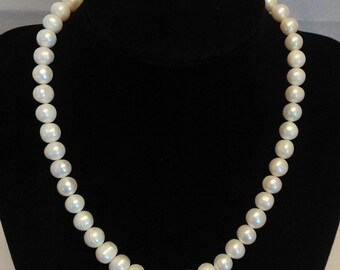 "Pearl 15"" Genuine Cultured White Pearls with Clasp Necklace"