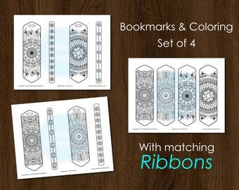 Bookmark Coloring Bookmark set Printable bookmark Custom bookmark Book Accessories Bookmarks for books  Mandala Color Planner Bookmark