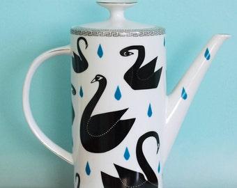 Ausverkauf! Sehr große Teekanne schwarze Schwäne und Regentropfen