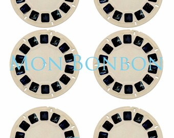 Digital Collage Sheet of ViewMaster Reels - DIY you print - INSTANT DOWNLOAD