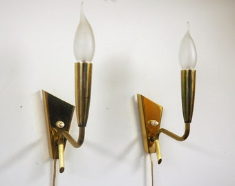 Beautiful pair vintage brass sconces, Danish design from 1950s