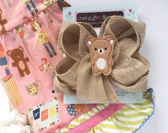 """Burlap Bow to match Matilda Jane Puppeteer Tunic or Puppet Show Top -- double stacked burlap bow with teddy bear center -- chooose 5"""" or 6"""""""