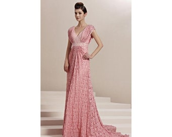 Pink Lace Dresd with Beaded Sleeves