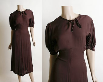 Vintage 1930s Dress - Sheer Chiffon Chocolate Brown 30s Puff Sleeve Pleat Dress with Velvet Bow - NRA Dress Code Authority - Small Medium
