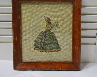 Vintage Needlepoint Gibson Girl Victorian Woman Picture Framed Petite Point PanchosPorch