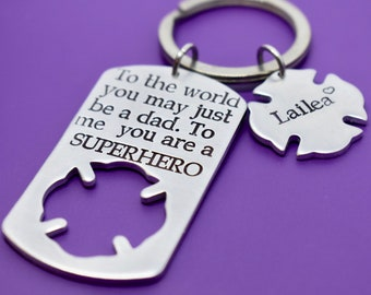 Firefighter Gift - Fathers Day Gift - Fireman, dad, Hero, Personalized - Fathers day gift - Dad Keychain - DAD Gift - Superhero Dad - Daddy
