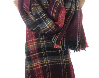 Blanket Scarf Plaid Scarf Autumn  Winter Fashion Accessories Men Scarf  Scarf   For Him Flannel Burgundy Cowl Holiday Gift For Women