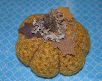 Handmade Stuffed Crotchet Pumpkin with Stem and Felt Flowers/ Pumpkin Decor/ Fall Decor/ Autumn Decor/ Crotchet Decor/ Fall Table Decor