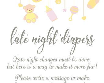 Baby Shower Games - 4 printable digital download PDF (Late Night Diapers & Guess The Size of Mom's Waist)