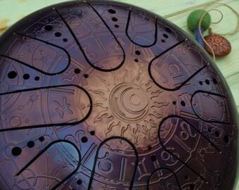 """TANK DRUM ( handpan steel tongue drum handpan drum steel drum hank drum singing bowl zodiac ) 12""""/30cm """"New Horocsope """" Kosmosky + Bag"""