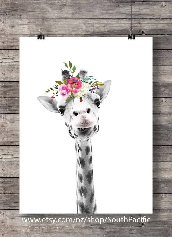 Giraffe Art Print Printable Art Cute Giraffe Face Flower