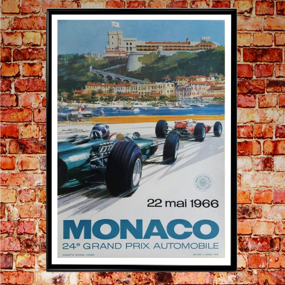 Monaco F1 Poster 1966 F1 Grand Prix Wall Art Grand Prix