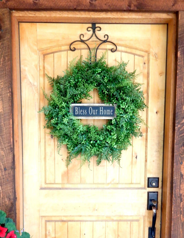Boxwood Wreath-Door Wreath-Farmhouse Wreath-BLESS our HOME Wreath ...