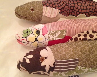 Cotton/Linen Fish Pillow, Upcycled/Repurposed Fabric, Best Dressed Pillow!