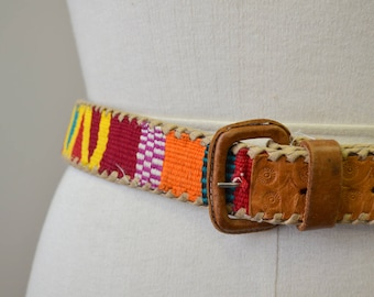 1980s Guatemalan Handwoven Textile and Leather Belt