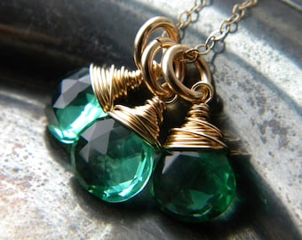 Gold filled blue green aquamarine quartz charm necklace - handmade wire wrapped jewelry