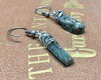 Green Kyanite Earrings - Raw Rough - Kyanite - Kyanite Dangles - Kyanite point - Stick earrings - Dagger - Raw Kyanite - wire wrapped
