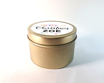 Personalised Christmas Candle. Beautiful gold travel tin for Xmas Gift Present.