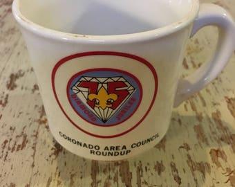 Vintage Boy Scout Coffee Cup Coronado Round Up 75th Diamond Jubilee