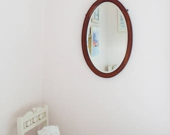Antique Mirror Vintage Oval Mirror Bevelled Edge Mirror Large