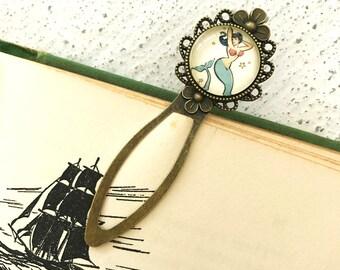 Vintage Pinup Mermaid Antique Brass Bookmark
