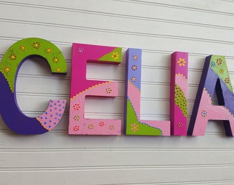 Girl Name Letters - Bohemian Decor - Boho Kids Room - Girls Boho Decor - Girls Room Decor - Baby Girl Name - Name Wall Letters