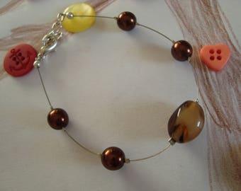Fancy bracelet simple Brown bead