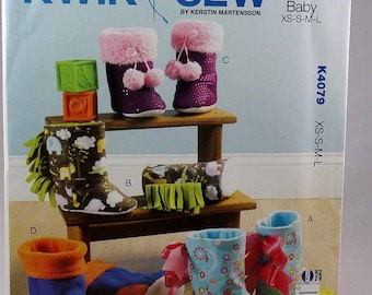 Kwik Sew 4079, Toddlers' Slippers Sewing Pattern, Sewing Pattern, Toddler Shoe Pattern, Toddler Pattern, Sizes XS, S, M, L, New and Uncut