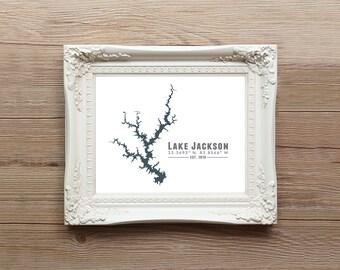 Lake Jackson Georgia Map Wall Art Print - Souvenir Gift Housewarming