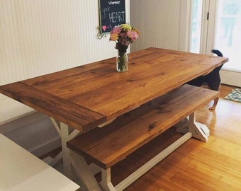 Large Farmhouse Table   Trestle Table   Rustic Table   Harvest Table    Farmhouse Bench   Farmhouse Kitchen Table   Dining Table