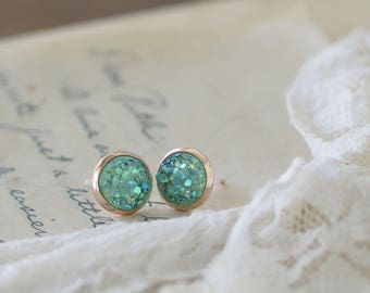 Mint Druzy Earrings - Faux Druzy Earrings - Small Druzy Earrings - Elegant Earrings for Mom - Girlfriend Studs - Druzy Stud Earrings