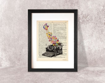 Typewriter with butterfly dictionary print-Typewriter print-Typewriter on book page-retro typewriter art-gift for writers-NATURA PICTA-DP014