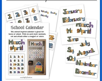 Monthly Calendar for Home, Preschool or Public School