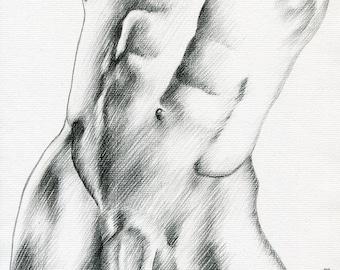 Original Artwork  Pencil Drawing Gay Man Male Nude