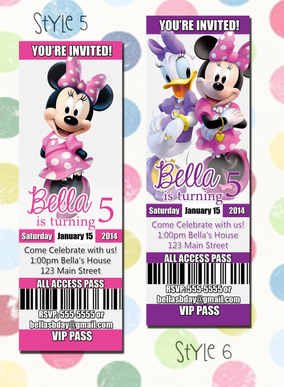 Minnie Mouse Birthday Party Invitation Ticket Style You Print