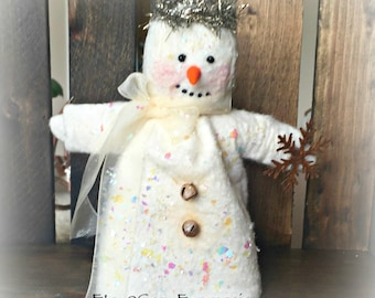 Snow Lady Christmas Ornament or gift tag