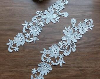white bridal lace applique trim pair for Weddings, Headpiece, Hair Flower