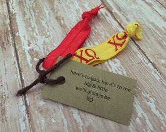 Chi Omega Sorority Hair Ties; Chi Omega Bid Day Bag Accessory; Big Little Reveal; Little Gift; Sorority Gift